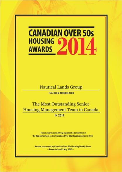 Canadian Awards 2014 Nautical Lands Group Certificate