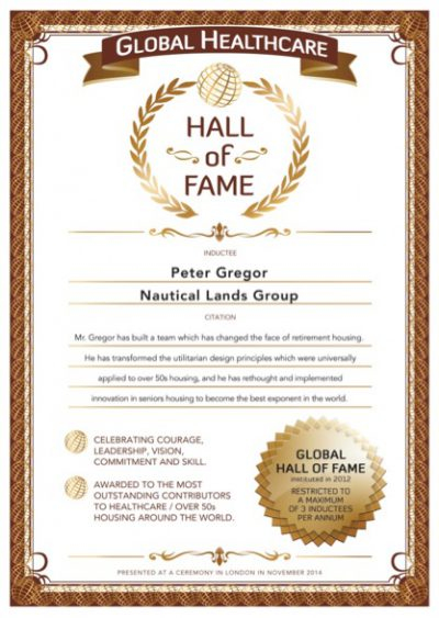 Globals Over 50s Hall-Of-Fame Certificate 2014 Peter Gregor Nautical Lands Group